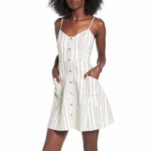 Linen/Cotton Striped Summer Dress w/Pockets Small